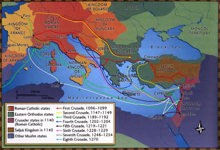 Карта всех крестовых походов