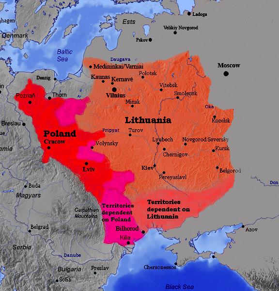 Карта Великого Княжества Литовского 1387 года