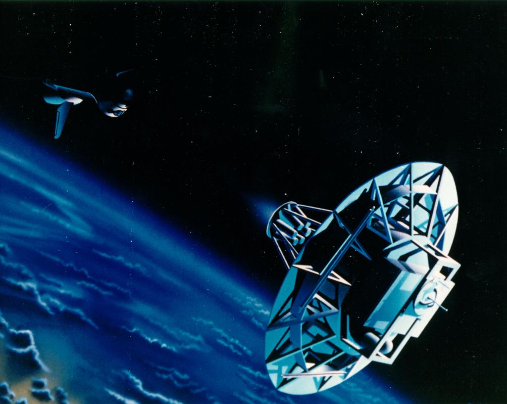 """Американский спутник """"Уэйк Шилд Фасилити"""" (Wake Shield Facility)."""