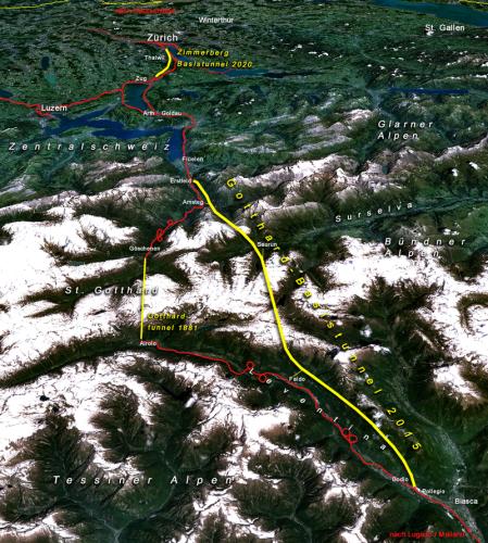 Карта тоннелей Швейцарии.
