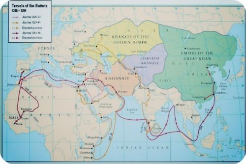Карта путешествий Ибн Батуты