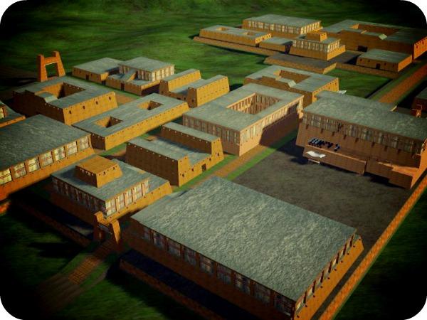 Компьютерная реконструкция города Мохенджо-Даро.